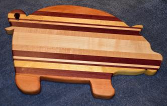 "Pig 15 - 03. Cherry, Purpleheart, Hard Maple and Yellowheart. 12"" x 19"" x 1""."