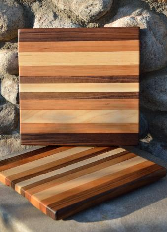 "Cheese Board 15 - 022. Black Walnut, Cherry and Hard Maple edge grain. 11"" x 12"" x 1""."