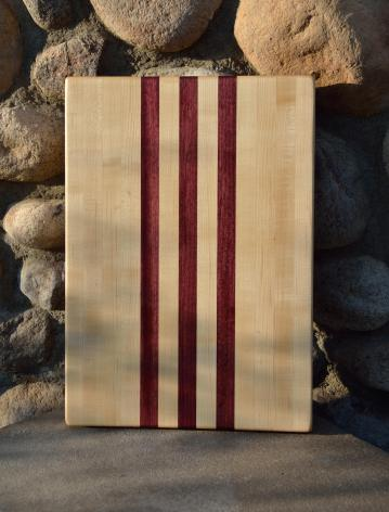 "Cutting Board 15 - 047. Hard Maple and Purpleheart edge grain. 12"" x 16"" x 1-1/4""."