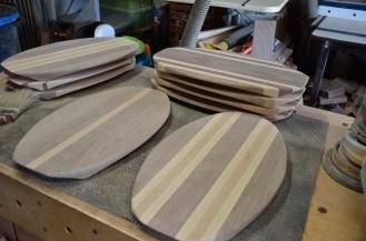 9 of the cheese servers, commonly called surfboards are done. Love this design, but it generates a TON of sawdust at every step of the process..