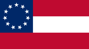 Flag of the Confederate States of America (July 1861 – November 1861). Licensed under Public Domain via Wikimedia Commons.