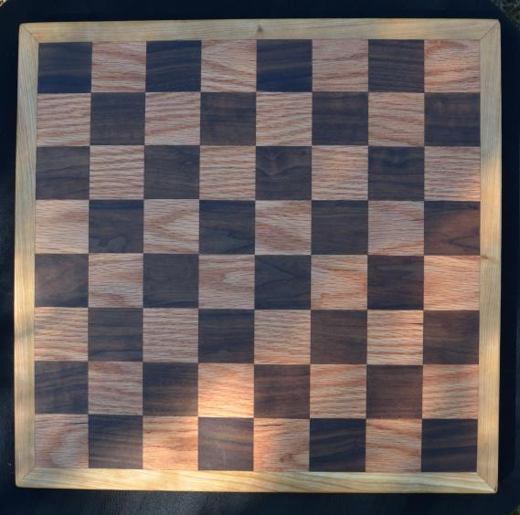 "Chess Board # 01. Black Walnut & Red Oak squares with a Cherry border. 17"" x 17"" x 1"""