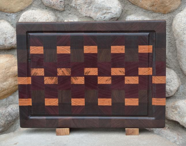 "Cutting Board # 15 - 051. Black Walnut, Jarrah, Purpleheart and Honey Locust end grain with juice groove. 12"" x 16"" x 1-1/2""."