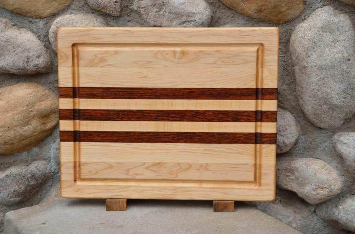 "Cutting Board # 15 - 054. Hard Maple & Jatoba edge grain with juice groove. 12"" x 16"" x 1-1/4""."