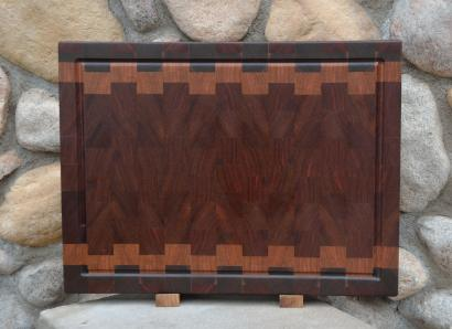 "Cutting Board # 15 - 057. Black Walnut, Cherry & Jatoba end grain with juice groove. 16"" x 20"" x 1-1/2""."