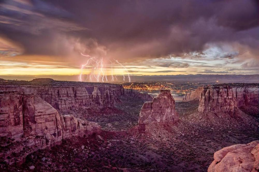 Lightning strikes - repeatedly - near the Colorado National Monument Photo by Bob Ingelhart. Tweeted by the US Department of the Interior, 7/18/15.