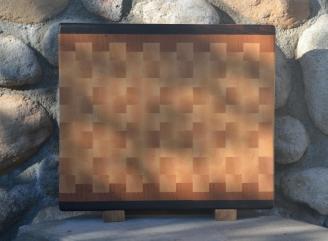"""Cutting Board 15 - 062. Black Walnut, Cherry & Hard Maple. End Grain. 13-1/4"""" x 15-1/4"""" x 1-1/4""""."""
