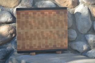 """Cutting Board # 15 - 063. Black Walnut, Cherry & Hard Maple. End Grain. 13-1/4"""" x 15-1/4"""" x 1-1/4""""."""