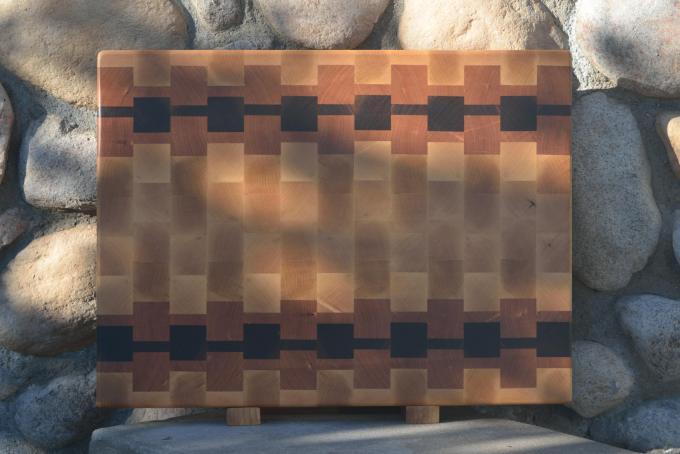 """Cutting Board # 15 - 065. Hard Maple, Cherry & Black Walnut. End Grain. 16"""" x 21"""" x 1-1/2""""."""