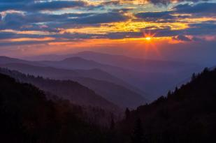 Great Smoky Mountians National Park at sunrise. Photo by Manish Mamtani. Tweeted by the US Department of the Interior, 7/18/15.