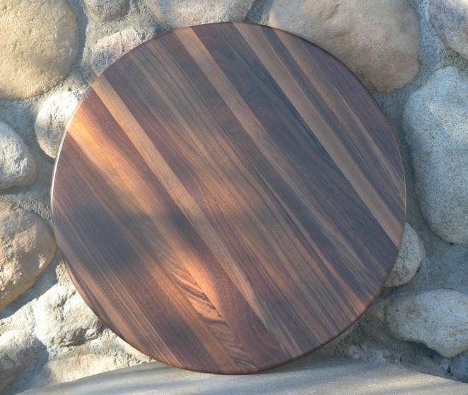 "Lazy Susan 15 - 010. Black Walnut. 17"" diameter."