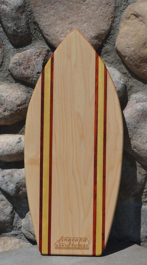 Medium Surfboard for Anacapa Homes, # 1. Hard Maple, Padauk & Yellowheart.