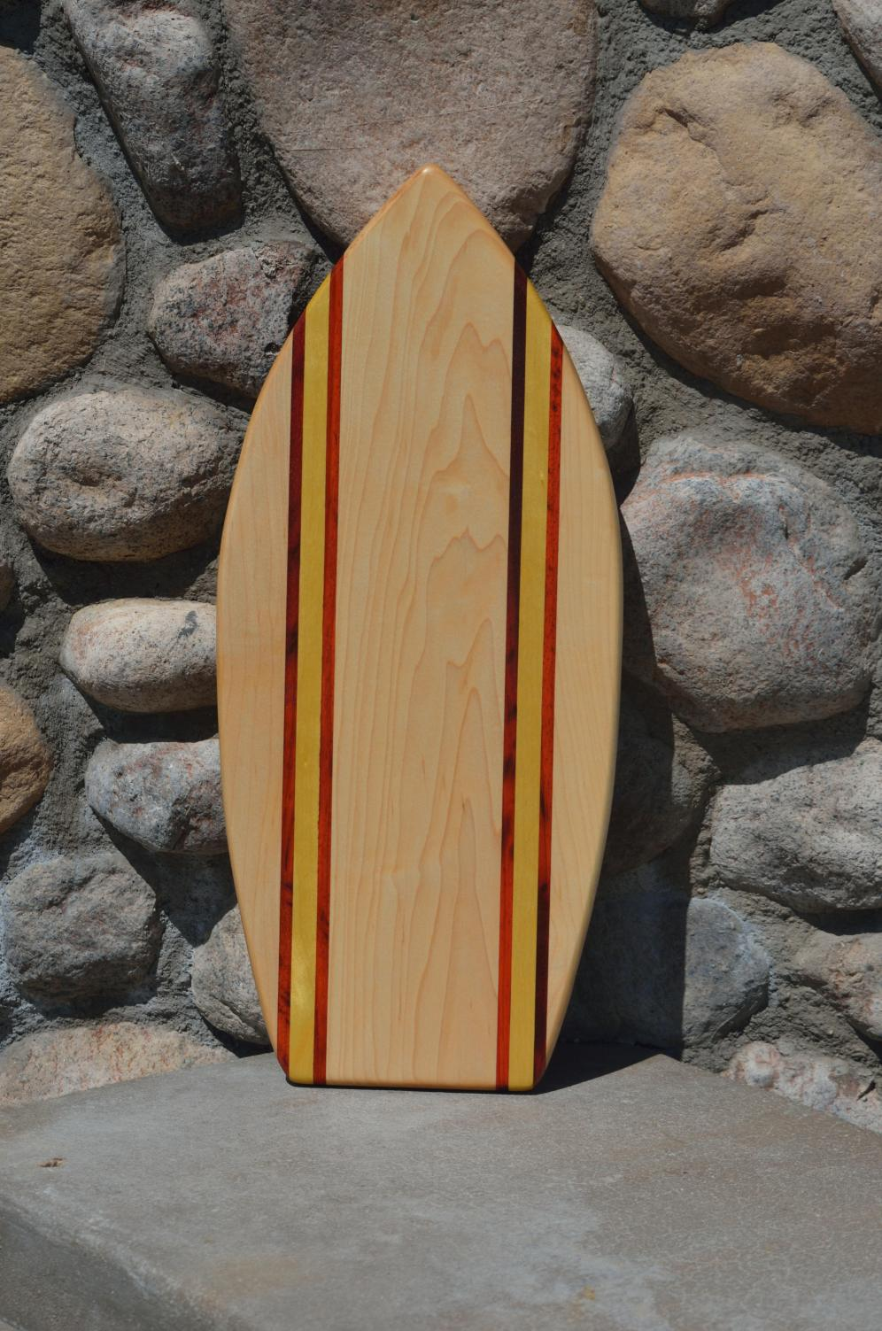 Medium Surfboard 15 - 03. Hard Maple, Padauk & Yellowheart.