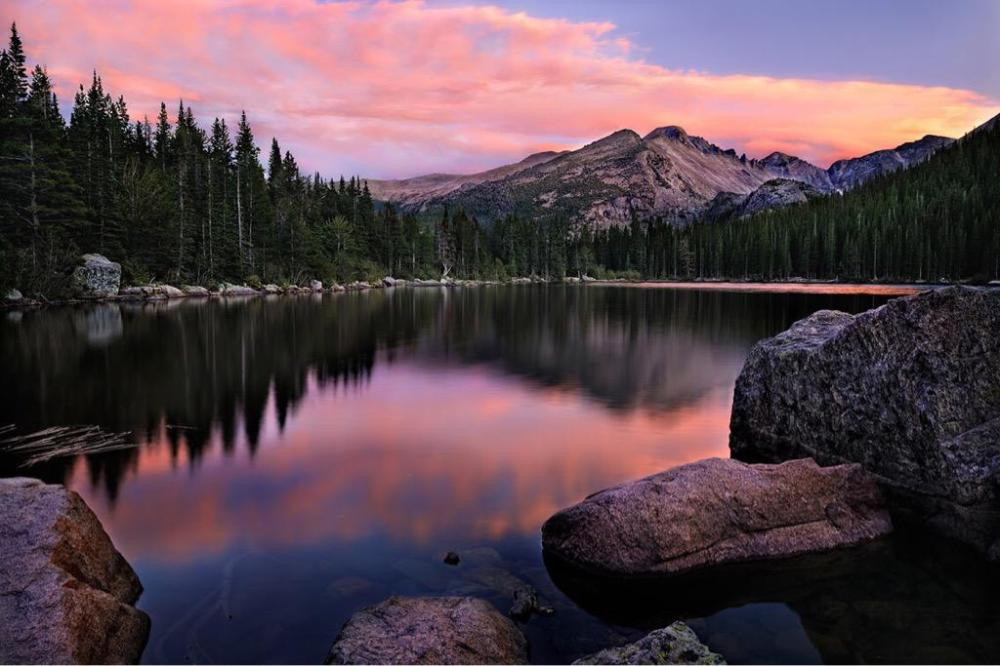 Sunset over Bear Lake in the Rocky Mountain National Park. Photo by Steve Perry. Tweeted by the US Department of the Interior, 8/12/15.