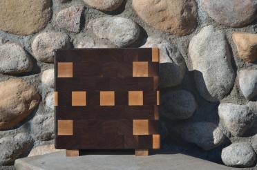 "Small Board # 15 - 051. Black Walnut & Hard Maple. Edge Grain. 10"" x 11-1/2"" x 1-1/2""."