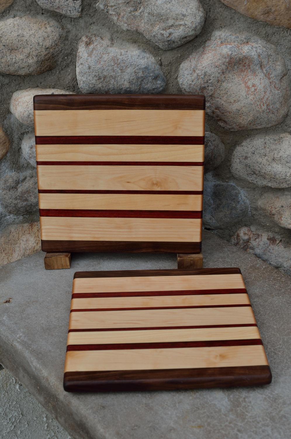 "Cheese Board # 15 - 026. Black Walnut, Hard Maple & Padauk. Edge Grain. 8"" x 10"" x 3/4""."