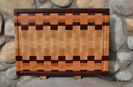 """Cutting Board # 15 - 049. Jatoba, Honey Locust & Hard Maple. End Grain, Juice Groove. 16"""" x 20"""" x 1-1/2"""". Pre-sold from the shop."""