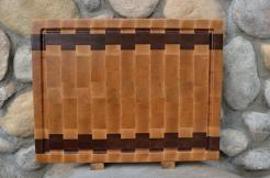 "Cutting Board # 15 - 067. Hard Maple & Jatoba. End Grain, Juice Groove. 16"" x 20"" x 1-1/2"". Two of these were made."
