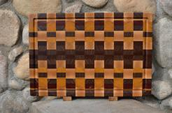 "Cutting Board # 15 - 074. Hard Maple, Jatoba, Yellowheart, Padauk, Black Walnut. End Grain, Juice Groove. 16"" x 20"" x 1-1/2""."