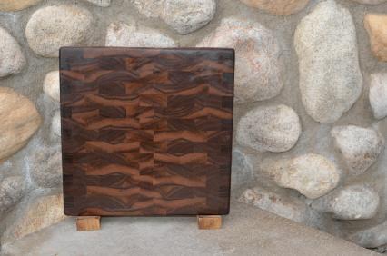 """Cutting Board # 15 - 080. Black Walnut. End Grain. 11"""" x 12"""" x 1""""."""