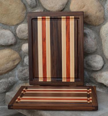 "Cutting Board # 15 - 101. Black Walnut, Hard Maple & Padauk. Edge Grain, Juice Groove. 12"" x 16"" x 1"". Commissioned pieces; part of a 3 board set."