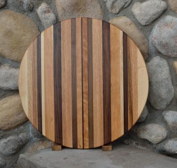 "Lazy Susan # 15 - 017. Red Oak, Walnut, Hard Maple & Cherry. 21"" diameter x 3/4""."