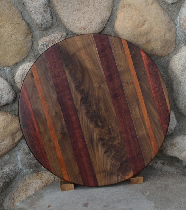 "Lazy Susan # 15 - 018. Black Walnut, Cherry, & Jarrah. 17"" diameter x 3/4""."