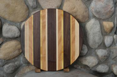 "Lazy Susan # 15 - 022. Black Walnut, Hard Maple, Cherry & Yellowheart. 17"" diameter x 3/4""."