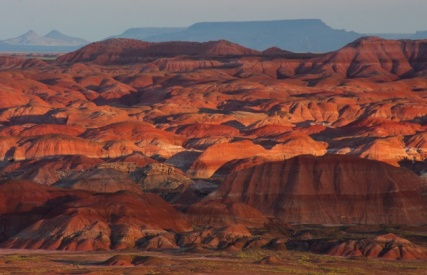 "The colorful hills, flat-topped mesas and sculptured buttes of the Painted Desert in Petrified Forest National Park are primarily made up of river sediment deposited over 200 million years ago. Erosion has shaped intriguing landforms and the rocks reveal an enthralling chronicle of time that is unfolding and ever-changing. From an article on the US Department of the Interior website, ""Five Amazing Places Protected By the Land and Water Conservation Fund."""