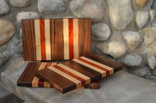"Small Board # 15 - 052. Black Walnut, Hard Maple & Padauk. Edge grain. 8"" x 12"" x 1""."