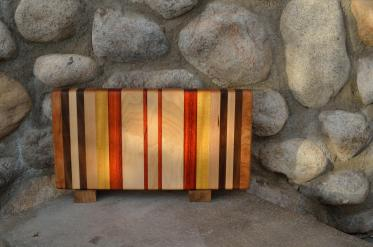 "Small Board # 15 - 055. Cherry, Black Walnut, Hard Maple, Yellowheart & Padauk. 6"" x 13"" x 1-1/4""."
