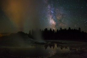 As if views of the geysers in Yellowstone National Park aren't enough, here's an incredible photo of the Milky Way over Castle geyser. With one-of-a-kind landscapes, terrific wildlife viewing and outstanding recreational opportunities, there's a universe of exploration in our first national park. Photo by Neal Herbert, National Park Service. Posted on Tumblr by the US Department of the Interior, 10/9/15.