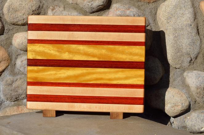"Cutting Board 15 - 080. Hard Maple, Padauk & Yellowheart. Edge Grain. 14"" x 11-1/4"" x 1""."