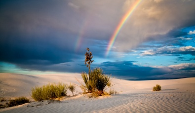 White Sands National Monument in New Mexico is one of the world's great natural wonders. Here, great wave-like dunes of gypsum sand have engulfed 275 square miles of desert, creating the world's largest gypsum dune field of brilliant snow-white sand. This photo of a double rainbow over the park was taken just at sunset as a rain storm let up. Photo by Raymond Lee. Posted on the US Department of the Interior blog, 10/19/15.