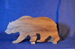 "Bear # 15 - 01. Black Walnut. 12"" x 19"" x 3/4""."