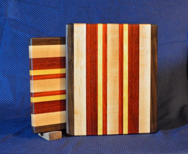 "Cheese Board # 15 - 044. Black Walnut, Hard Maple, Padauk & Yellowheart. Edge Grain. 10"" x 11"" x 3/4""."