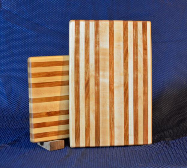 "Cheese Board # 15 - 046. Hard Maple & Cherry. Edge Grain. 8"" x 11"" x 3/4""."