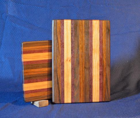 "Cheese Board # 15 - 047. Black Walnut, Goncalo Alves, Purpleheart & Hard Maple. End Grain. 9"" x 11"" x 3/4""."