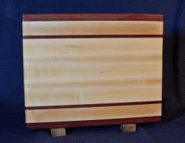 "Cutting Board # 15 - 082. Purpleheart & Hard Maple. 12"" x 16"" x 1-1/4""."