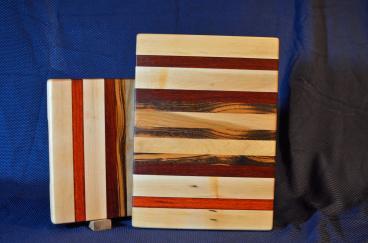 "Cutting Board # 15 - 104. Hard Maple, Paduak, Black Walnut & Goncalo Alves. Edge Grain. 12"" x 16"" x 1-1/4""."