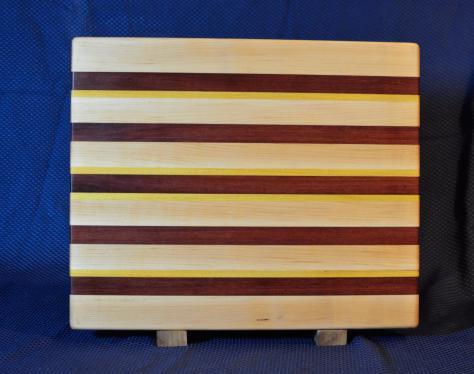 """Cutting Board # 15 - 105. Hard Maple, Purpleheart & Yellowheart. Edge Grain. 15"""" x 18"""" x 1-1/4""""."""