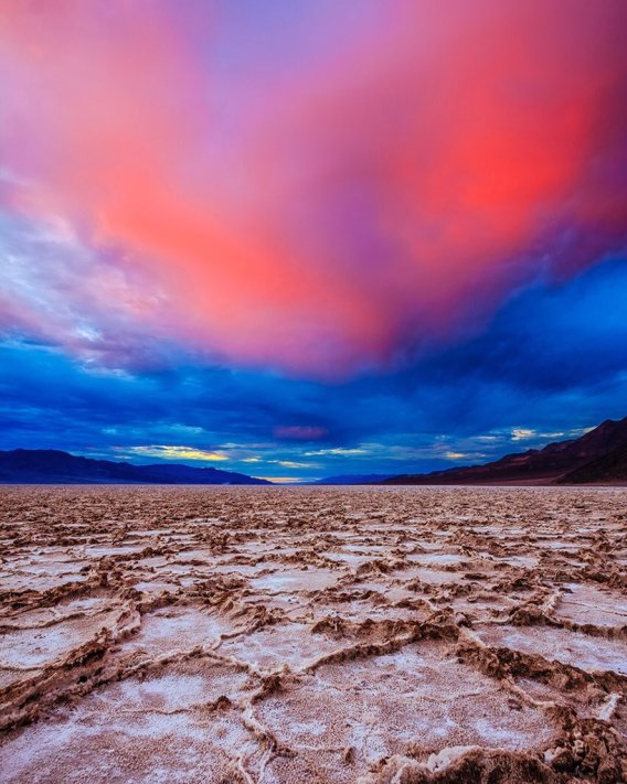 Colors rip across the skies at sunset. Death Valley National Park. Photo by James Mead. Tweeted by the US Department of the Interior, 11/5/15.