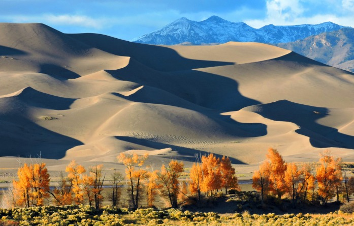 This picture from Great Sand Dunes National Park in Colorado has everything! Fall colors, massive sand dunes and snow capped mountains showcase this marvel of the West. Visiting here is an experience unlike anywhere else. Did you know you can sled down the dunes? Photo by National Park Service. Posted on Tumblr by the US Department of the Interior, 11/2/15.