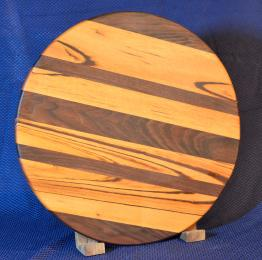 "Lazy Susan # 15 - 029. Goncalo Alves & Black Walnut. 17"" diameter x 3/4"". Sold in its first showing."