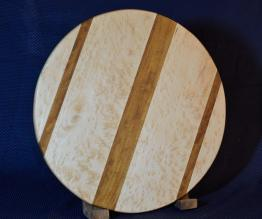 "Lazy Susan # 15 - 030. Birdseye Maple (a uniquely figured Hard Maple) and Teak. 17"" diameter x 3/4""."
