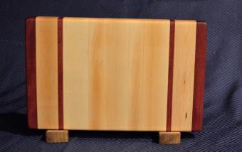 """Small Board # 15 - 058. Purpleheart & Hard Maple. 9"""" x 12"""" x 1-1/4""""."""