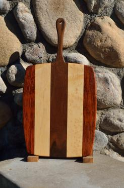 "Sous Chgef # 15 - 45. Jatoba, Hard Maple & Black Walnut. 10"" x 22"" x 3/4""."