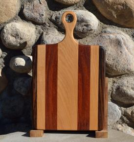 "Sous Chef # 15 - 53. Black Walnut, Hard Maple & Jatoba. 9"" x 16"" x 3/4"". Sold in its first showing."