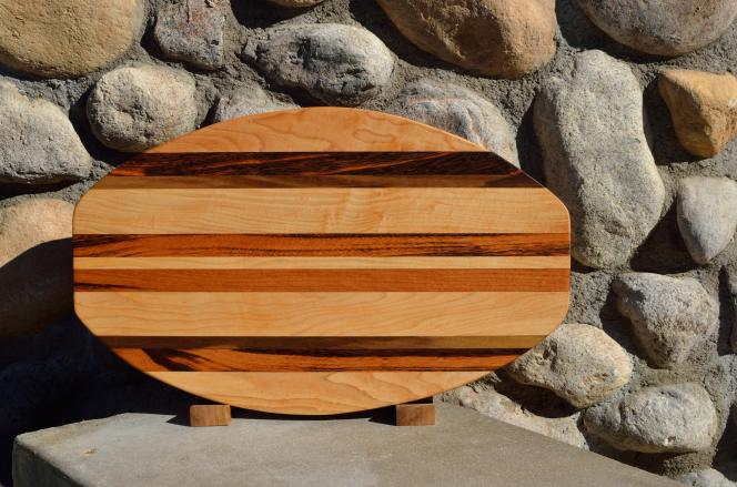 "Surfboard # 15 - 33. Hard Maple, Black Walnut & Goncalo Alves. 12"" x 19"" x 1-1/4""."