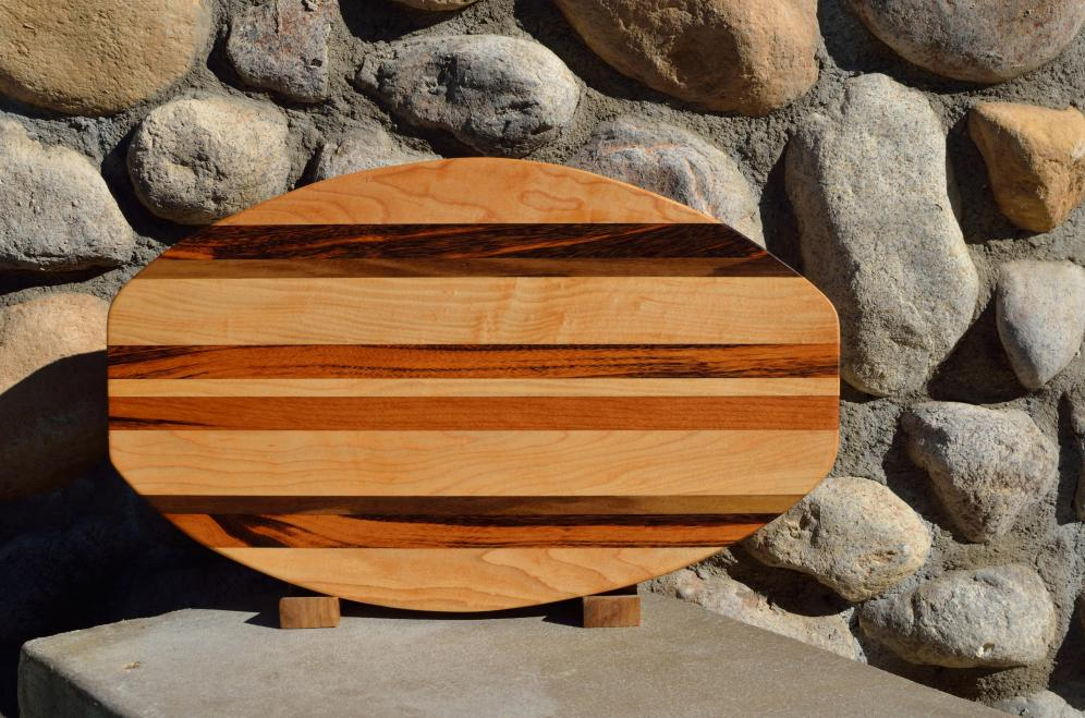 "Surfboard # 15 - 33. Hard Maple, Black Walnut & Goncalo Alves. 12"" x 19"" x 1-1/4""."